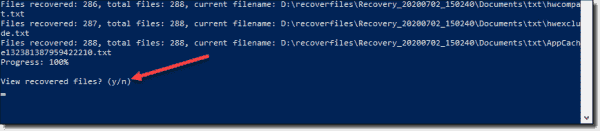 View recovered files using the Windows File Recovery tool