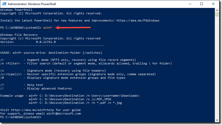 Viewing the options for the Windows File Recovery app in the command line