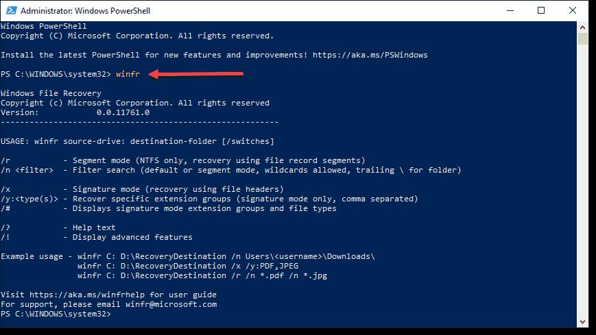 Windows File Recovery app in Windows 10 2004