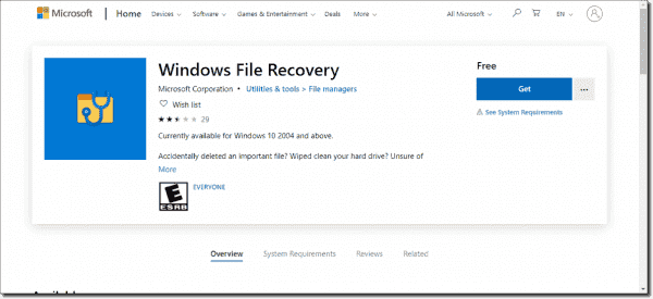 Windows File Recovery app available in the Microsoft store
