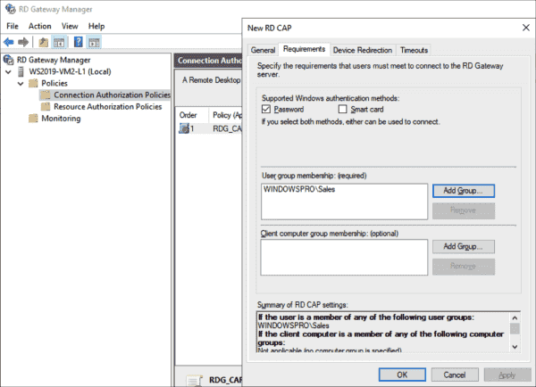 Adding a user group to a connection authorization policy