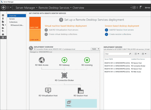 Adding an RD Gateway via the RDS Deployment overview in Server Manager