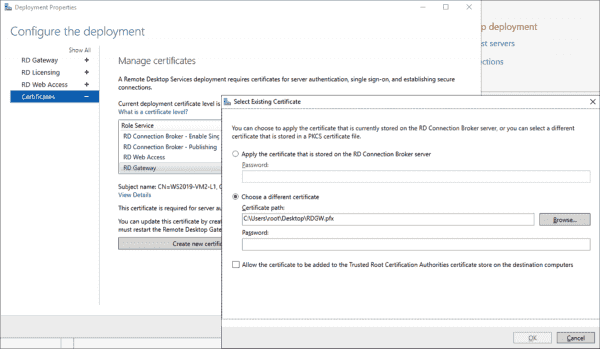 Assigning a certificate to the RD Gateway in the deployment overview of the Server Manager