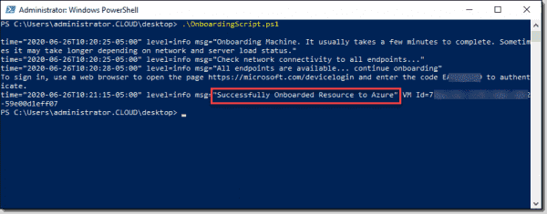 Azure Arc onboarding script finishes successfully