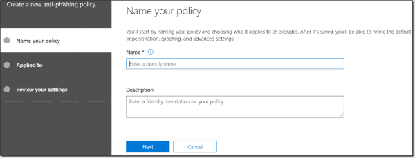 Create a new ATP anti phishing policy