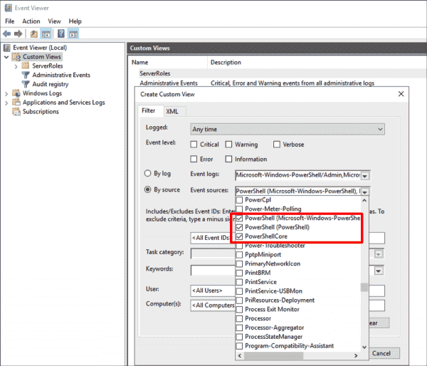Custom filter in the event viewer for recorded script blocks