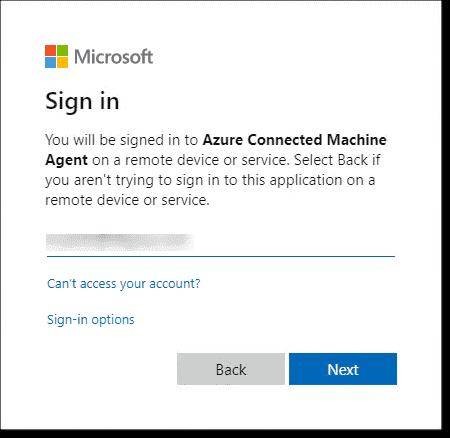 Enter your Azure portal username