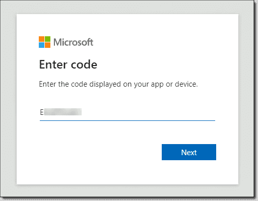 Entering the code on the device sign in page for Microsoft Azure Arc