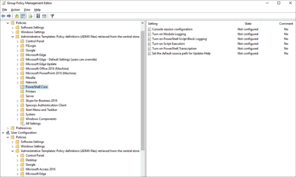 Group policy settings for PowerShell 7