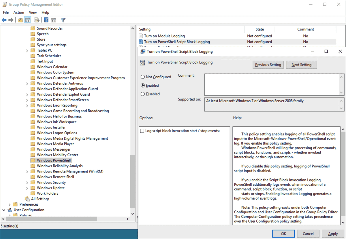Group policy to enable deep scriptblock logging