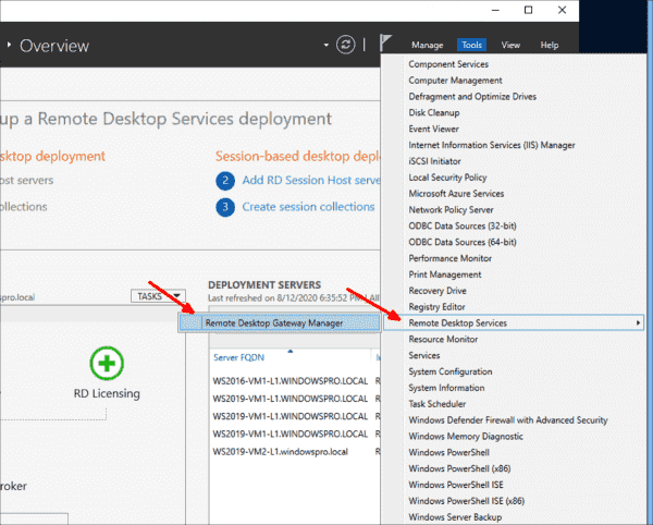 Launch Remote Desktop Gateway Manager from the Tools menu of the Server Manager