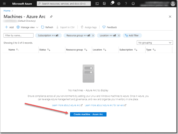 Navigate to Azure Arc in the Azure portal