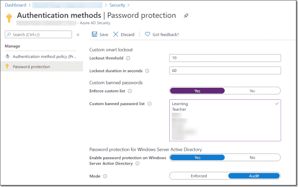 Password protection enabled