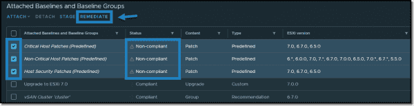 Select non compliant baselines and click the Remediate button