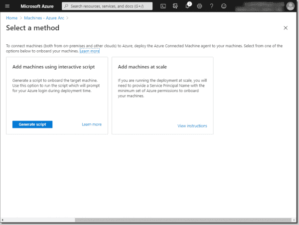 Select the method to onboard your machine into Azure Arc