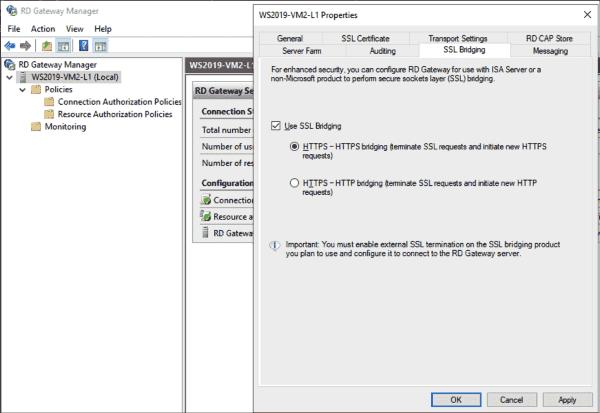 Settings for SSL bridging