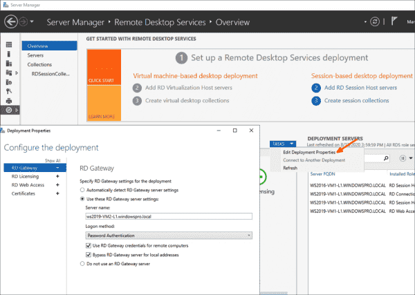 Settings for the RD Gateway in the Server Manager