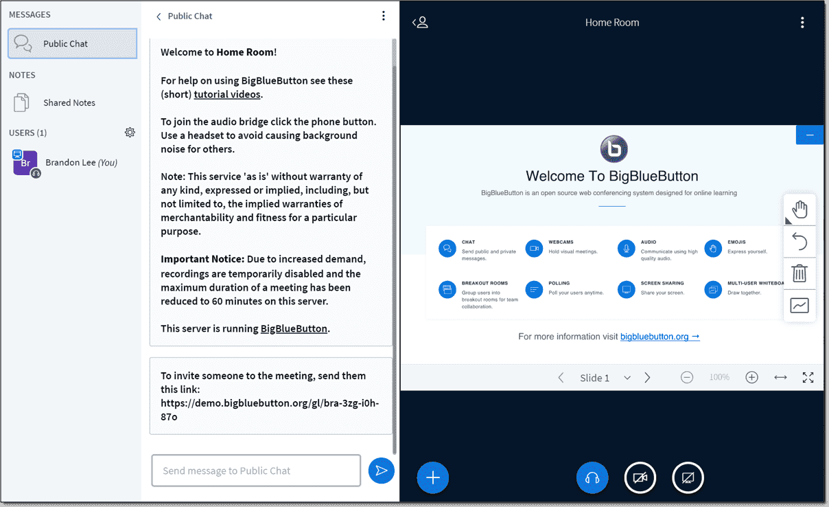 The BigBlueButton interface