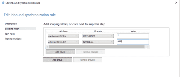 The filter should ensure the value of extensionAttribute3 doesn't equal the string 'AAD'