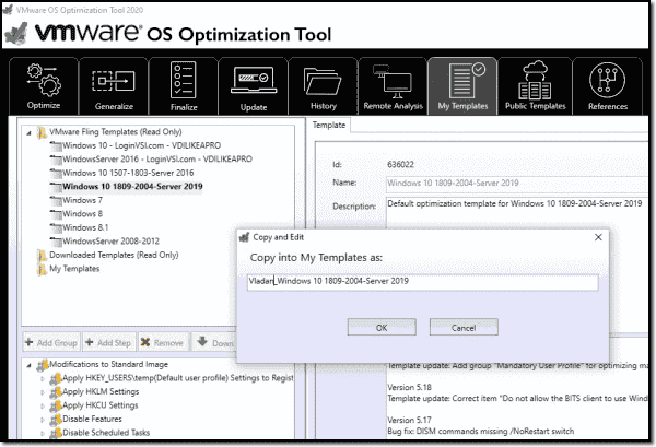 VMware OSOT allows creation of your own templates