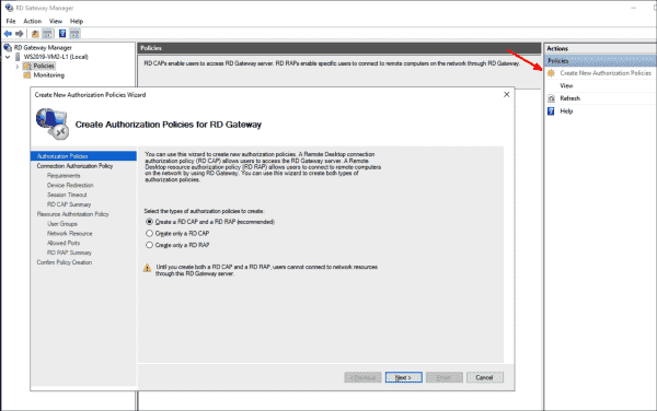 Wizard in the Remote Desktop Gateway Manager for creating CAP and RAP