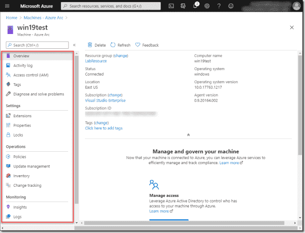 You now have Azure capabilities on your Azure Arc on premises machine