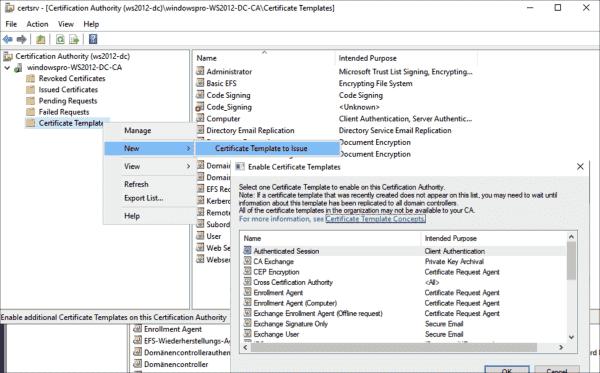 Activating the new template via certsrv.msc