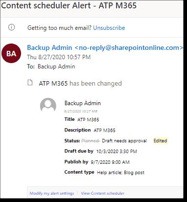 Alert email