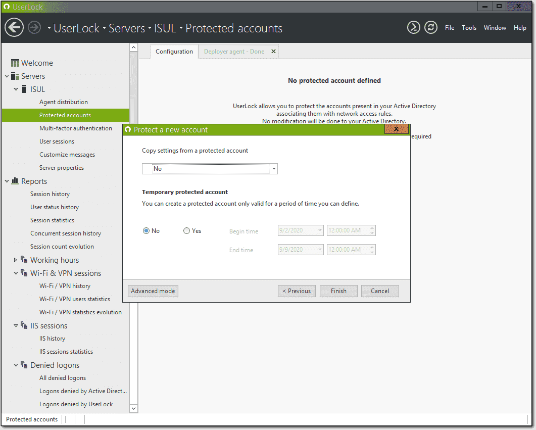 Choosing copy settings and temporary protection