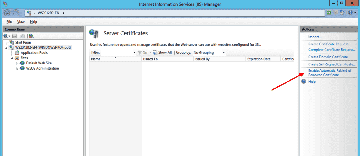 Enabling automatic binding of renewed certificates in IIS Manager