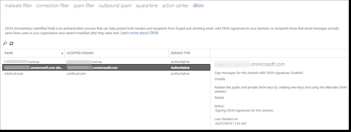 Exchange Online Protection DKIM policies