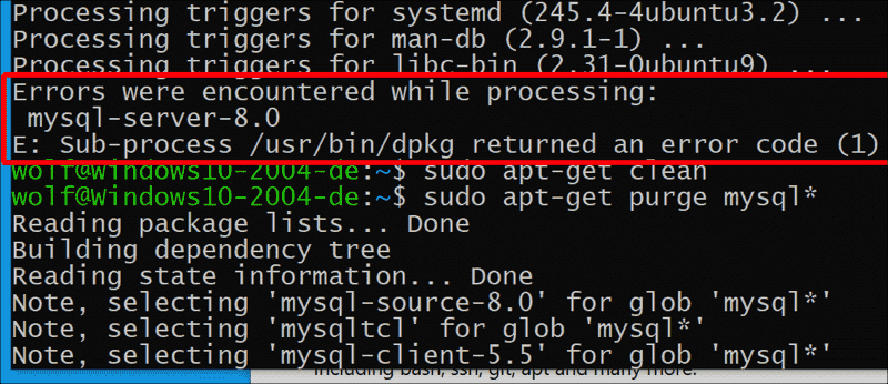 If you use the distribution of Ubuntu 20.04 in WSL2 the installation of MySQL 8.0 fails