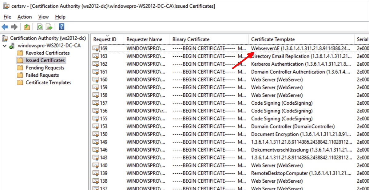 In the snap in for the certification authority you can see whether a certificate was issued automatically