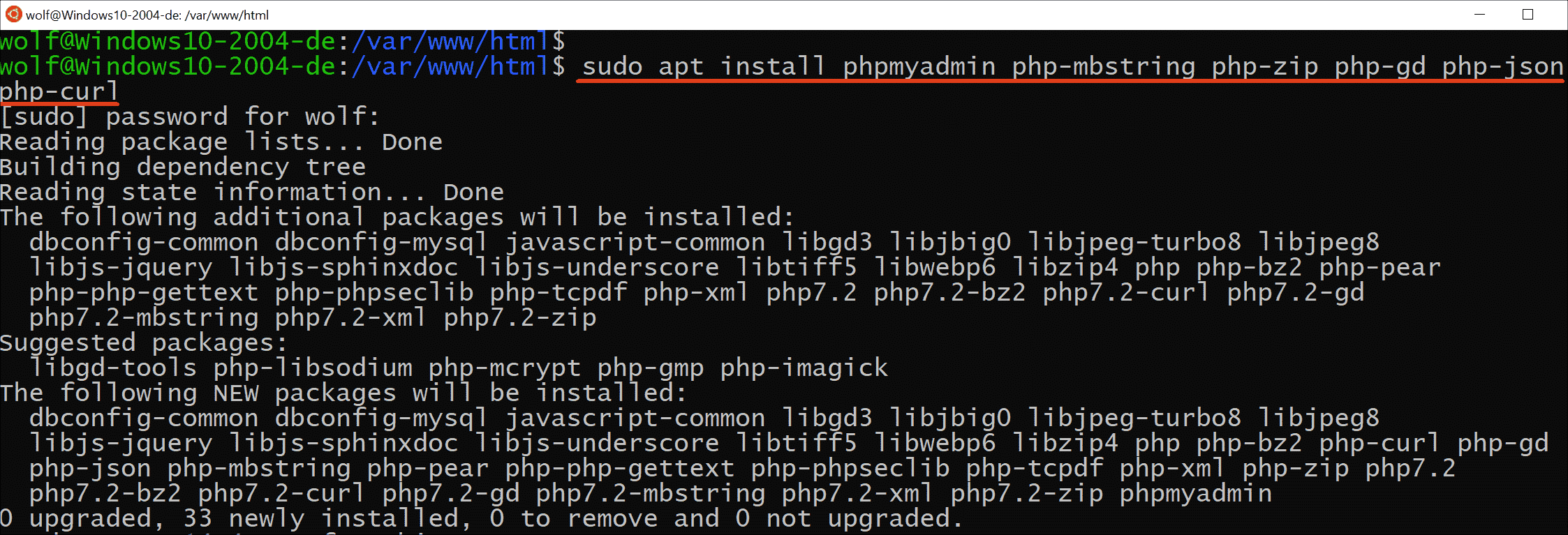 Installing phpMyAdmin including some PHP modules