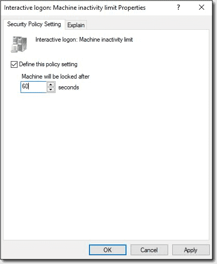 Interactive logon—machine inactivity limit