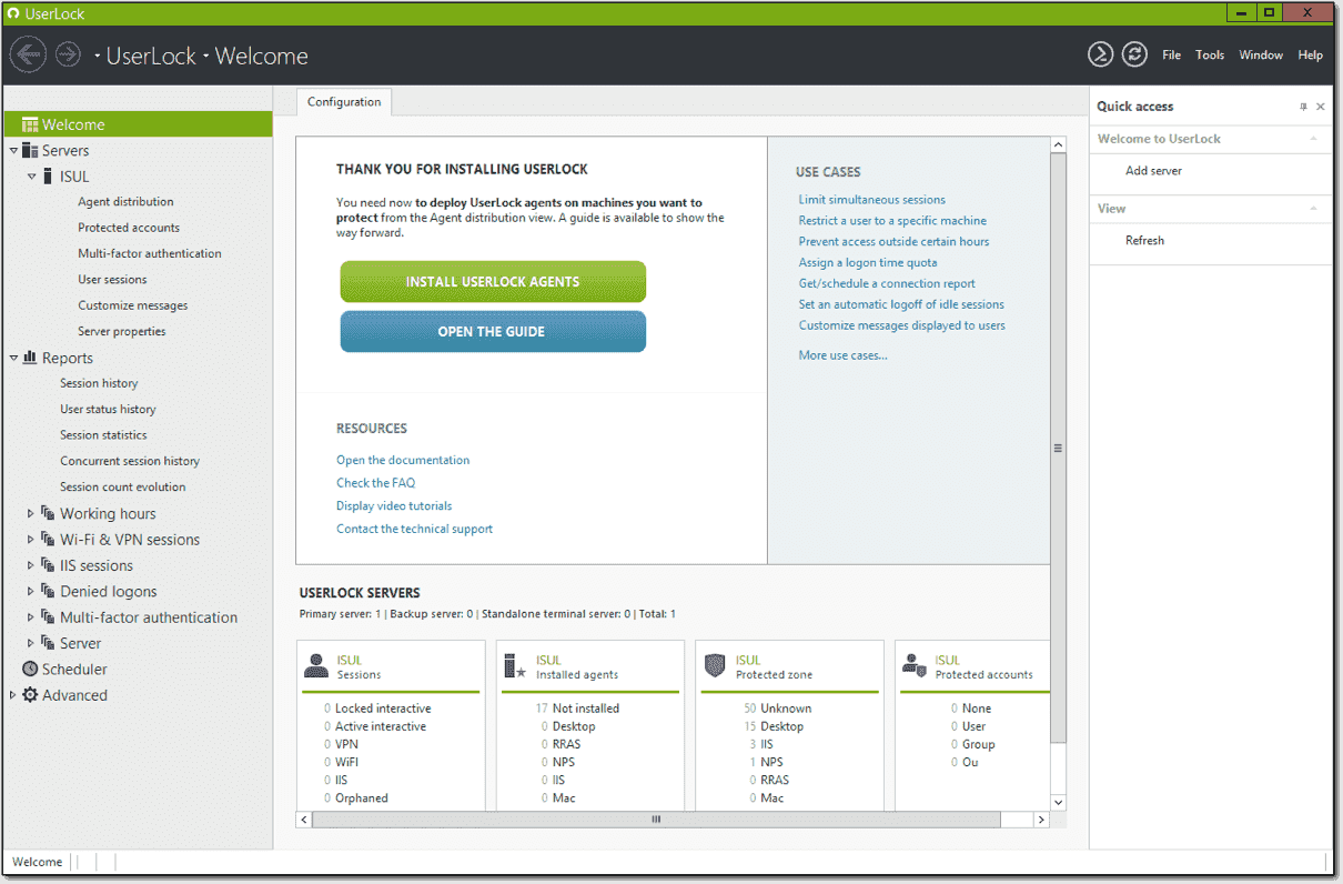 Launching the UserLock console for the first time