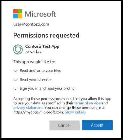OAuth permission screen courtesy of Microsoft