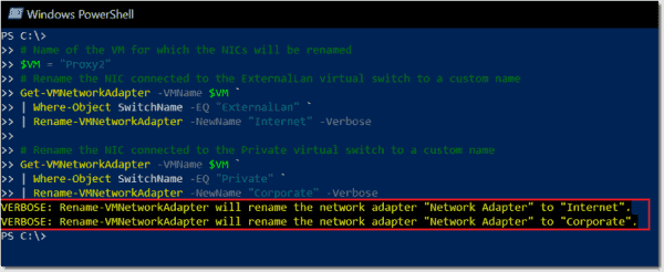 Scenario 2 Host rename NICs