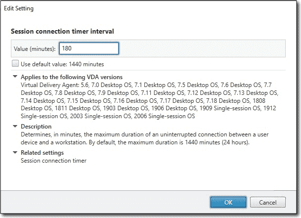 Session connection timer interval