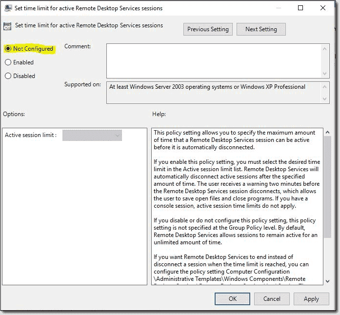 Set time limit for active Remote Desktop Services sessions