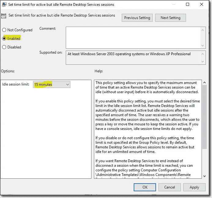 Set time limit for active but idle Remote Desktop Services sessions