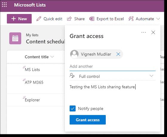 Sharing a Microsoft list
