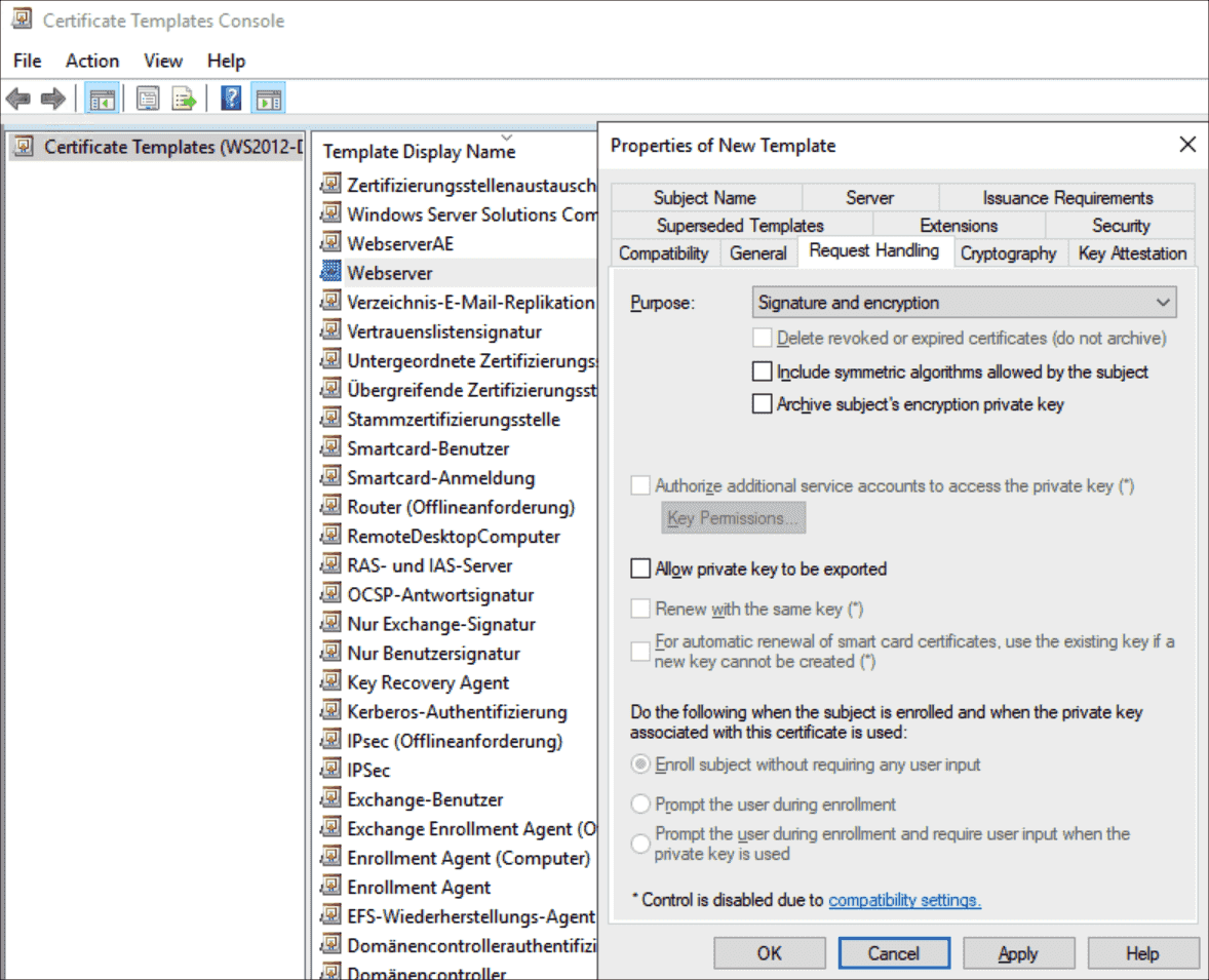 The settings under _Request Handling_ can usually be left since they are taken over from the Webserver