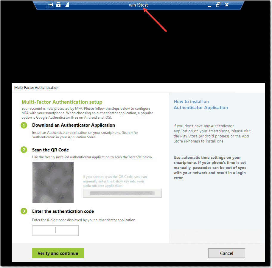 User is prompted for MFA setup including a QR code for adding to an authenticator app