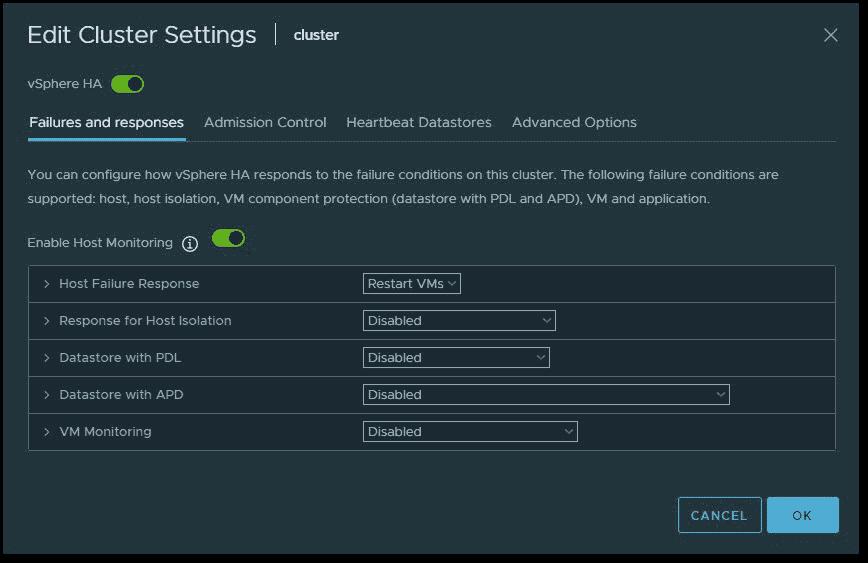 VMware vSphere HA Edit cluster settings
