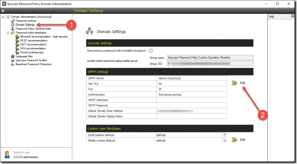 Centralized management of SMTP settings