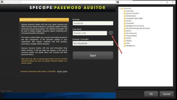 Configuring Specops Password Auditor Active Directory scan