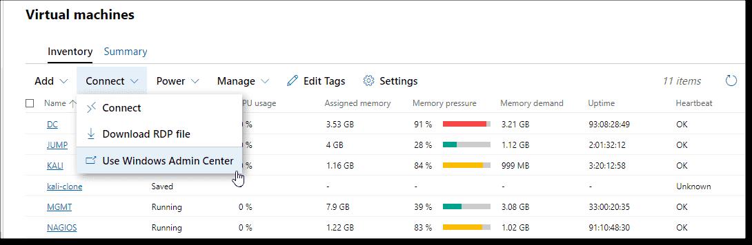Connect using Windows Admin Center