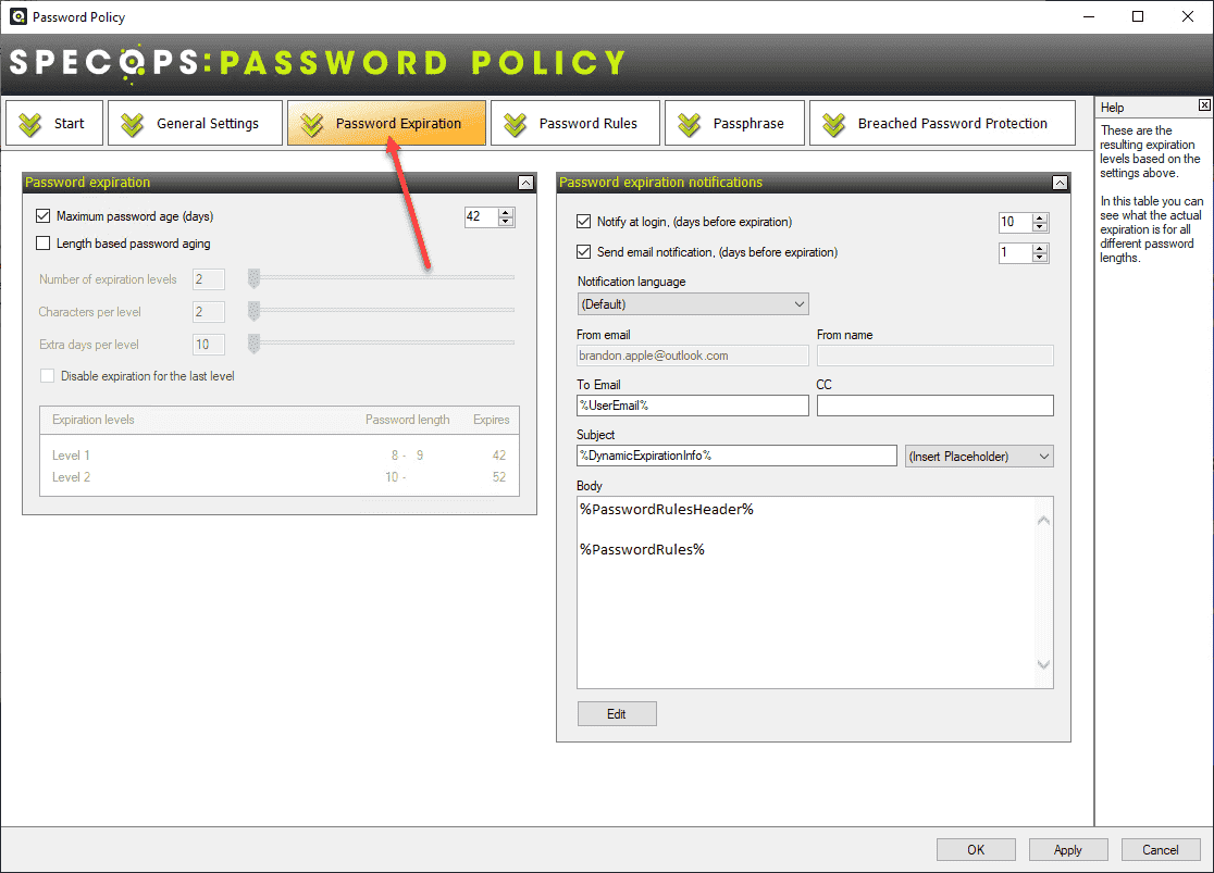 Dedicated tab for password expiration configuration settings