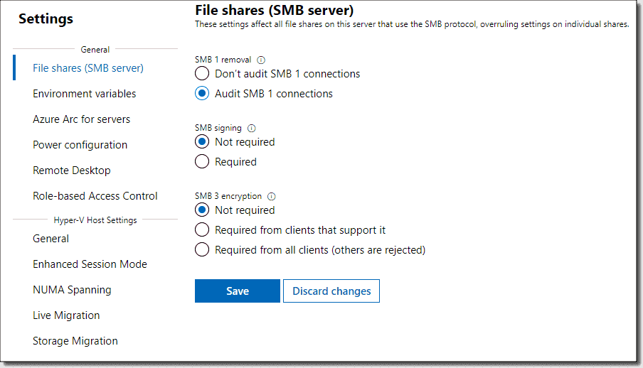 Files and file sharing options